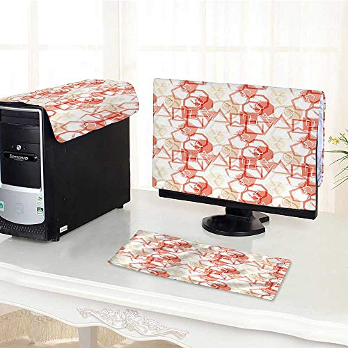 - Auraisehome One Machine LCD Monitor Keyboard Cover Squares Polygons Circles Rounds in Brush Stroke Watercolor Design Dark Coral White dust Cover 3 Pieces /27