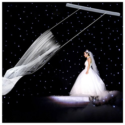 WINGOFFLY Flying Veil Wedding for Bride Updated Version Same as Jimmy Show Fly Veil (48inch Main Engine+ Straight Flange White Veil)