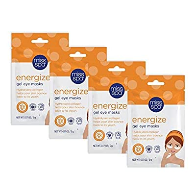 Miss Spa Energize Gel Eye Masks, 4 Pack, Hydrolyzed Collagen Helps Your Skin Bounce Back to Its Youth