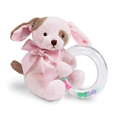 "Bearington Baby Wiggles Plush Stuffed Animal Pink Puppy Dog Shaker Toy Ring Rattle, 5"": Toys & Games"