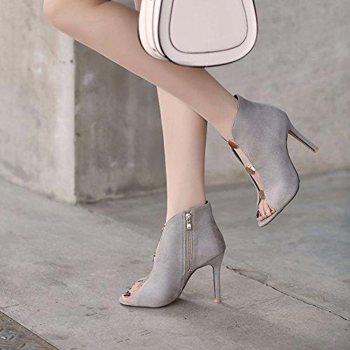 PPFME Femmes D'été Chaussures Femmes Sandales Stiletto Bottes À Talons Hauts Été Roman Chaussures Slip-On Sandales Peep Toe Grey Efskti