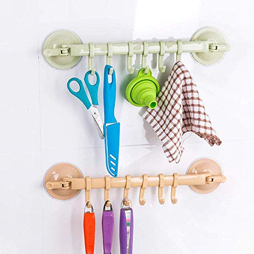 Zollyss Strong Suction Cup Lock Button Type Kitchen Bathroom Hanging 6 Hooks for Wall Corner Mounted Hanger Holder Household Supplies, 1 Pc