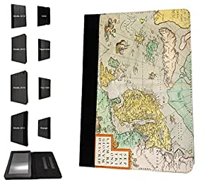 1111 - cool fun vintage world map marine navigation Design Amazon Kindle Fire Hd 7'' 5TH Generation (2015 Release Only) Fashion Trend TPU Leather Flip Case Protective Purse Pouch Book Style Defender Stand Cover