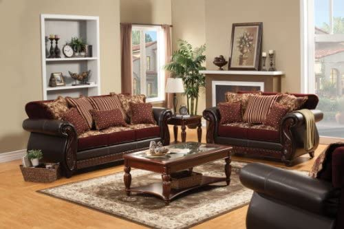 Amazon Com Furniture Of America Kildred Fabric And Leatherette Sofa Burgundy Finish Kitchen Dining