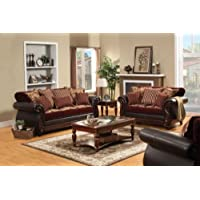 Furniture of America Kildred Fabric and Leatherette Love Seat, Burgundy Finish