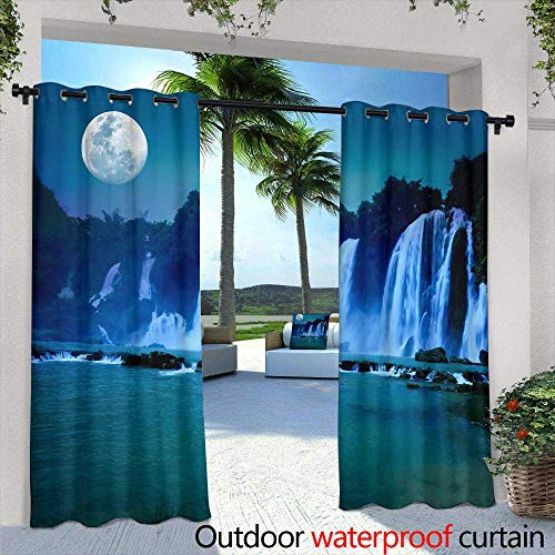 Outdoor- Free Standing Outdoor Privacy Curtain,Beautiful View of Park Avenue, USA During Summer,W84 x L108 for Patio Light Block Heat Out Water Proof Drape ()