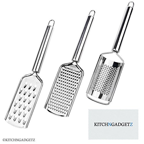 Kitchen Graters - Set of 3 (2 flat, 1 rounded) - Handheld - Stainless Steel Razor Sharp Teeth - High Performance - For Vegetables, Fruits, Cheese, ()