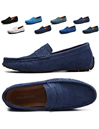 Men's Driving Penny Dress Loafers Suede Leather Driver Moccasins Slip On Shoes