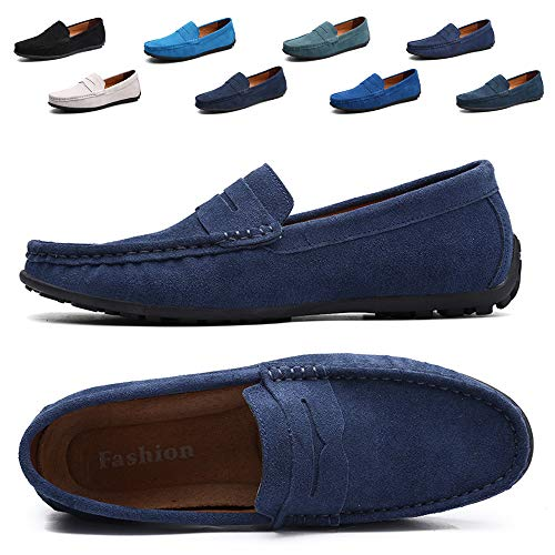 TSIODFO Navy Blue Slip On Shoes for Men Penny Loafers Suede Cow Leather Comfort Business Casual Dress Shoes Size 11 (A101DK Blue46) ()