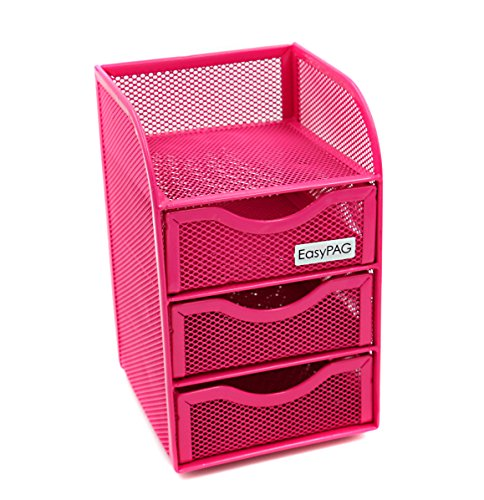 Steel 3 Compartment Desk Drawer - EasyPAG Mesh Desk Accessorie Organizer 3 Drawer Mini Hutch Office Supplies Caddy, Pink