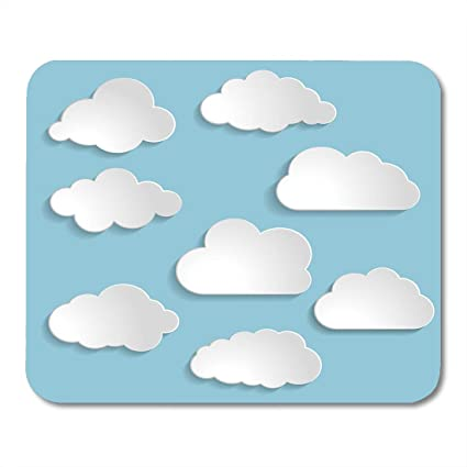 94b1454dff16 Boszina Mouse Pads Graphic White Shape of Clouds Collection Blue Sky Speech  Mouse Pad 9.5 quot