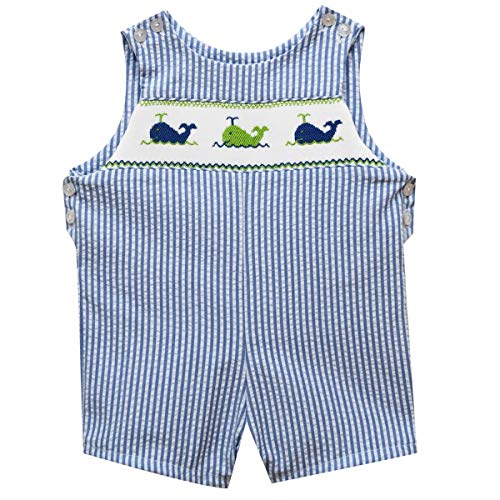 - BETTI TERRELL Whales Smocked Blue Stripe Boys Shortall