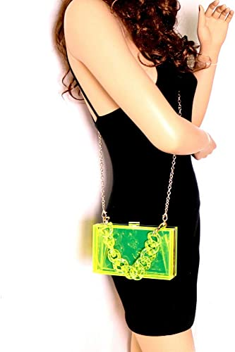 Cute Clear Acrylic Plastic Neon Hard Frame Party Clutch Purse with Gold Chain Strap