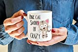 One Cat short of Crazy Coffee Mug - Crazy Cat lady - Kitty Mug - Cat Coffee mug - Cat lovers mug