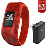Garmin Vivofit Jr. Activity Tracker for Kids Regular Fit Broken Lava (010-01634-00) with 1 Year Extended Warranty & Universal USB Travel Wall Charger