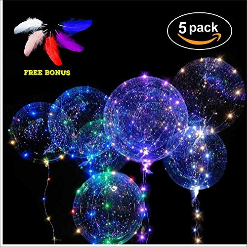 POPGRAT Led Balloons Light Up Balloons Transparent Glow Helium Wedding Neon Night Balloons, [Last 36 Hours], Decorations Special Birthday Party Supplies, 18'' (Best Investment For 19 Year Old)