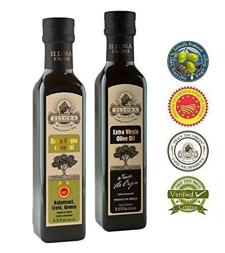Ellora Farms | Single Origin & Single Estate | Traceable Extra Virgin Olive Oil | First Cold Press | Born in Ancient Crete, Greece | 8.45 oz PDO & Miller's - Extra Pure Virgin