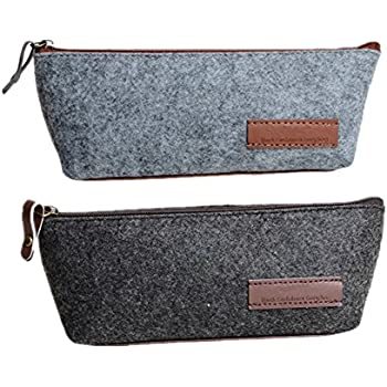 Funnylive Set of 2 ; Dark Gray and Gray Pencil Case Multi-Functional Pouch Bag Case School Supplies Zipper Electronic Cords Bag