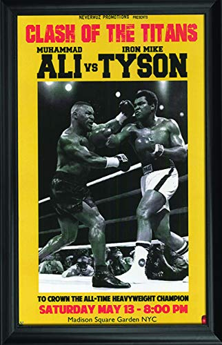Lentics Ali vs Tyson Wall Art Textured Print Framed - Clash of The Titans - All Time Heavyweight Champions, World Boxing - Cassius Clay Muhammad Ali and Iron Mike Tyson ()