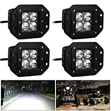oEdRo 20W 4 inch Square Spot Flush Mount Cube Pods LED Work Light Waterproof Super Bright Panel Fog Driving DRL Lamp SUV Offroad Truck Boat(Pack of 4)