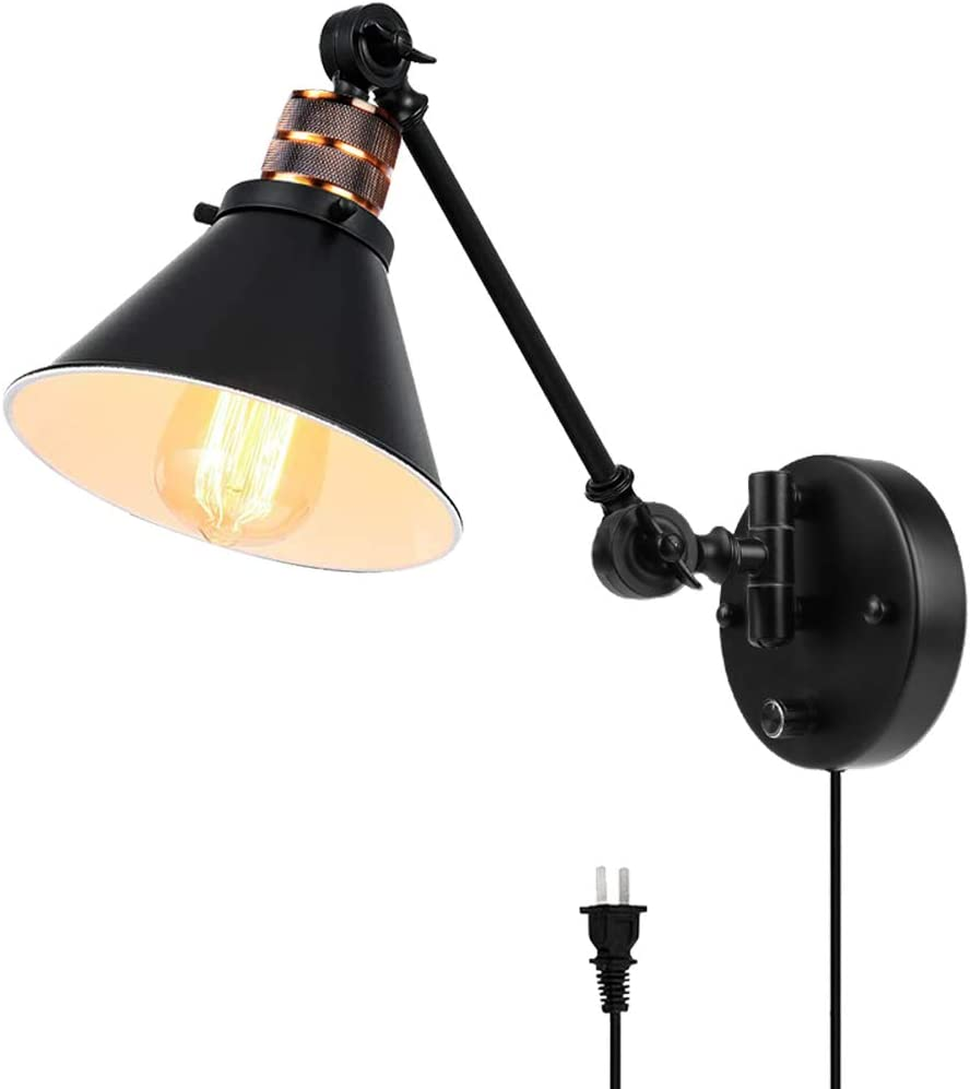 Plug in Wall Sconces Metal Black Vintage Industrial Wall Mounted Lighting Reading Light Fixture for Bedside Bedroom Indoor Doorway PARTPHONER Swing Arm Wall Lamp with Dimmable On Off Switch