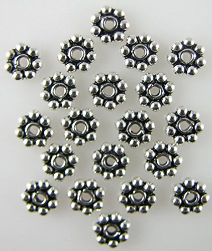 5x1mm .925 sterling silver daisy spacer beads 20pcs ()