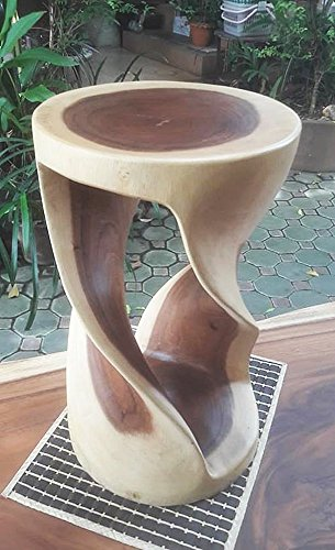 Thailand : Double Twist Stool Sust Wood Width 12 inches x Long 12 inches x high 20 inches, Durable, Eco Friendly, Livos Oak Oil Fin. (Furniture Thailand Teak)
