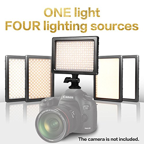 Nanguang LED Video Light 4-in-1 Dimmable Bi-color DSLR LED Light with Sony NP-F Battery, Charger and Carrying Case, LED Light for Canon Nikon DSLR Camera DC Camcorder Cyber Monday by NanGuang