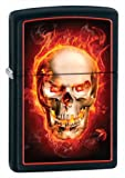 Zippo Black Matte Burning Skull Lighter