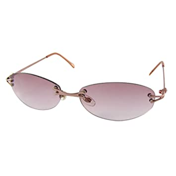 c12d3133f8a Ladies Rimless Oval Tinted Lens Metal Arms Sunglasses  Amazon.co.uk  Sports    Outdoors