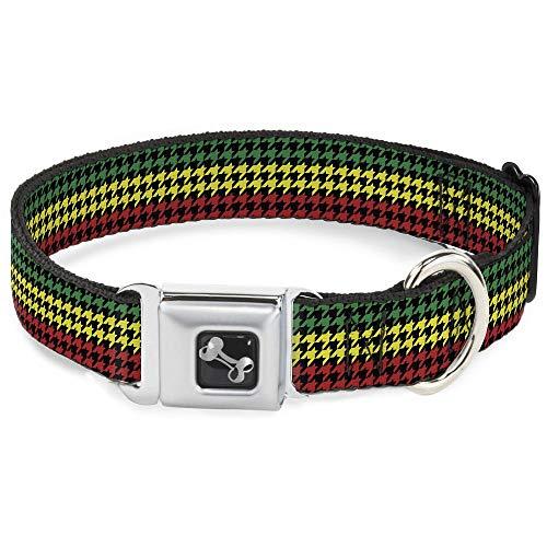 (Buckle Down Seatbelt Buckle Dog Collar - Houndstooth Black/Rasta - 1