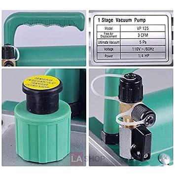 AC refrigerante bomba de vacío 3 CFM sola etapa III rotativa: Amazon.es: Bricolaje y herramientas