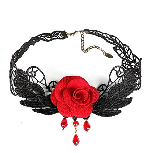 Jewelry Lolita (Londony ♥‿♥ Clearance,Fashion Roses Collars Necklace for Women,Black Lace Gothic Lolita Pendant Choker Jewelry)