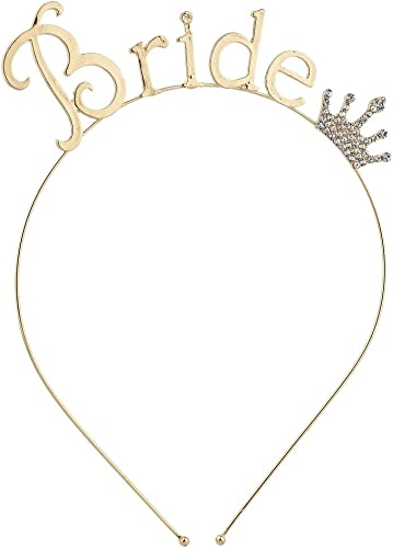 Lux Accessories Bride Bridal Shower Bachelorette Party Crown Headband