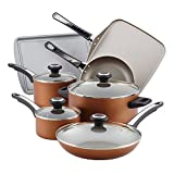 Farberware 21955 High Performance Nonstick Cookware Pots and Pans Set Dishwasher Safe, 17 Piece, Copper