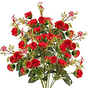 ANPHSIN 5 Branch 10 Heads Artificial Fake Flowers- Silk Plastic Vintage Rose Floral Wedding Bridal Bouquet for Home Kitchen Room Garden Party Decor (Pack of 4- Red) 86