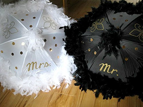 Wedding Second Line Umbrellas Handmade In New Orleans, Black and White, Gold Mr. Mrs. Fleur De Lis and Sequins with Feather Trim and Topper