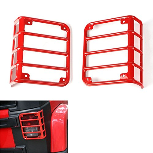 Opar Red Rear Tail Light Cover for 2007-2018 Jeep Wrangler & Wrangler Unlimited JK - Pair