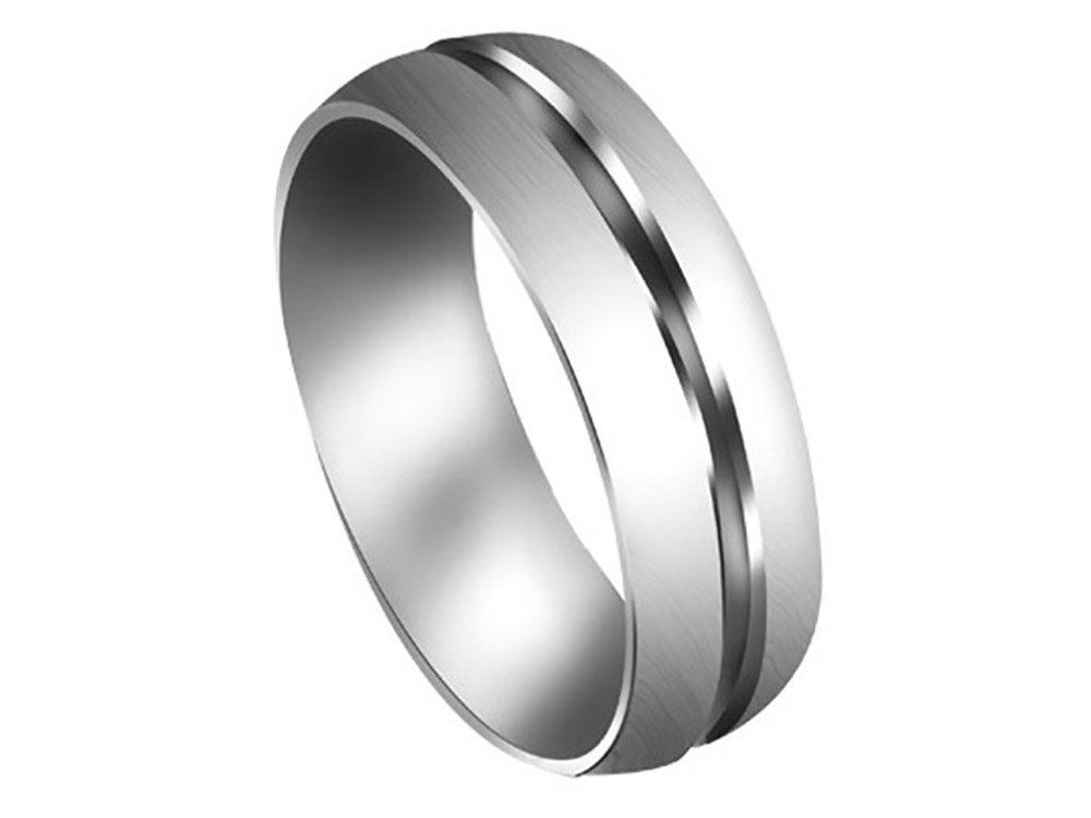 Men's Platinum 950 Grooved 7mm Comfort Fit Wedding Band Ring size 9