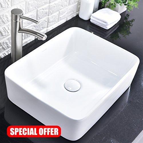 Comllen Above Counter White Porcelain Ceramic Bathroom Vessel Sink Art Basin - Art Counter