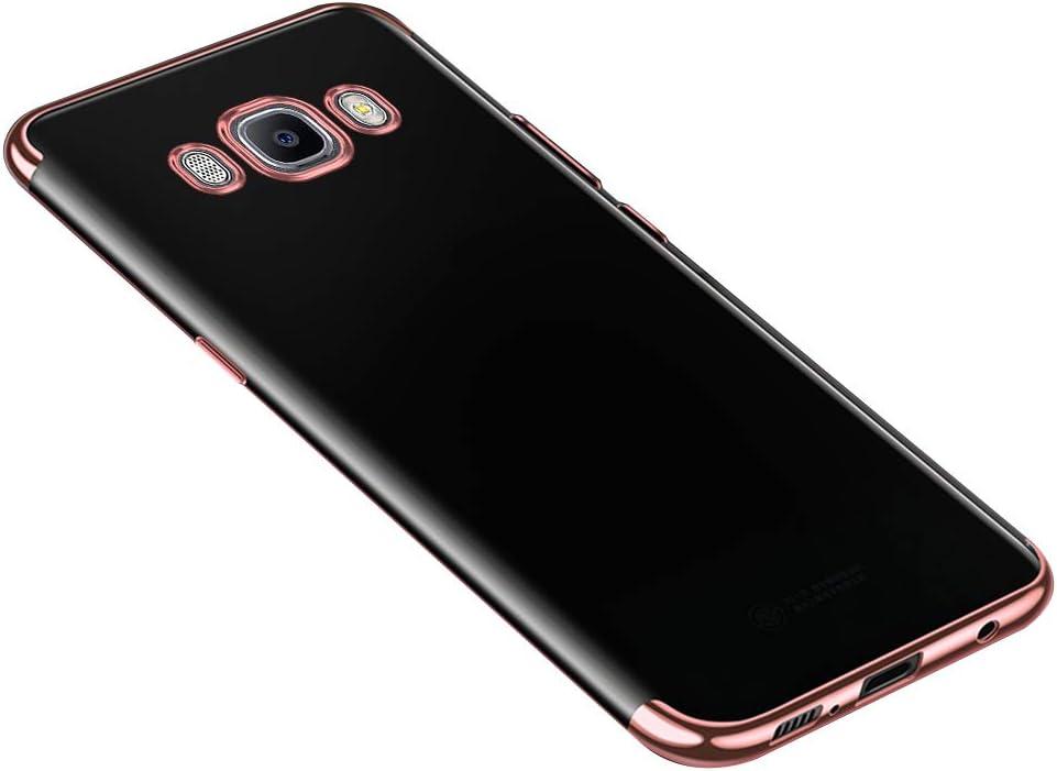 JAWSEU Funda Compatible con Galaxy J7 2016 Carcasa Transparente Cristal Suave Silicona Gel TPU Ultra Delgado Enchapado Goma Bumper Resistente Anti-Golpes Completa Protectora Funda,Oro