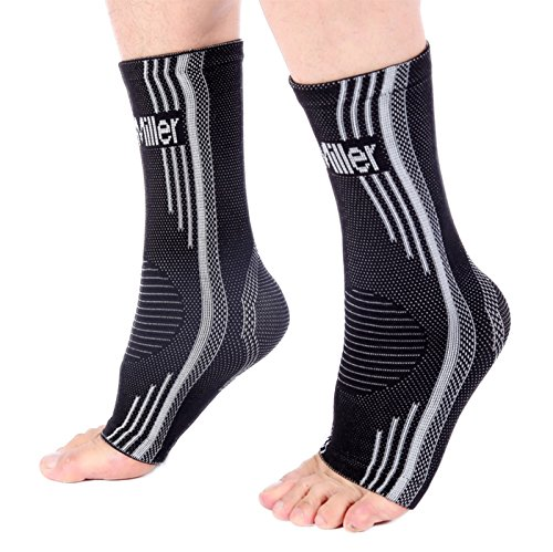 Doc Miller Premium Ankle Brace Compression Support Sleeve Socks for Swollen Foot Plantar Fasciitis Achilles Tendonitis, Use as Injury Support Recovery Eases Pain Swelling 1 Pair (Gray, Large)