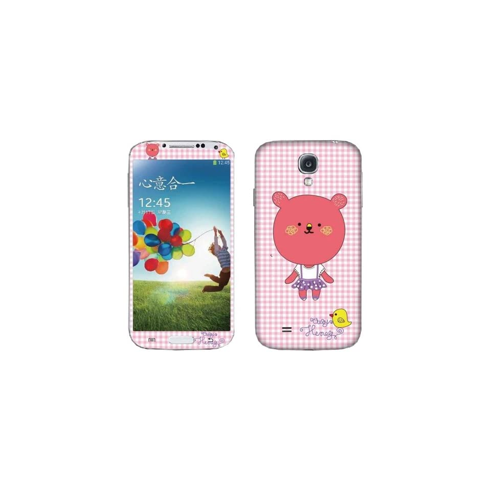 DIY Personality Full Size Body Cartoon Big Head Cubs Yellow Birds Cute Pink Background Design Stickers for Samsung S4 I9500 S Iv LCD Film Screen Protector Sticker Prevent Scratches   500 Style   Prevent Scratches Perfect Fit for Your Cellphone Color Sticke