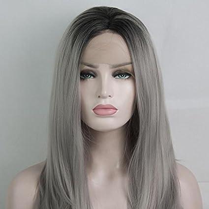 Royalvirgin Peluca de aspecto natural color gris oscuro con raíces largas rectas hechas a máquina,