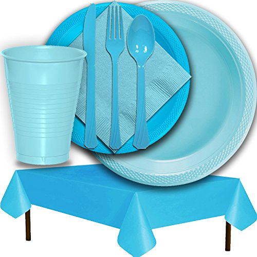 Plastic Party Supplies for 50 Guests - Light Blue and Aqua - Dinner Plates, Dessert Plates, Cups, Lunch Napkins, Cutlery, and Tablecloths - Premium Quality Tableware Set