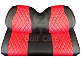 Golf Cart Front Seat Covers for EZGO TXT | Diamond Stitching | Red & Black |