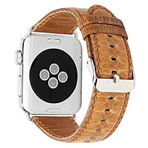 Apple Watch Band, Apple watch Band iWatch Sport Edition Vintage Genuine Leather Replacement Watchband with Metal Clasp Buckle Strap for Apple Watch Series 2 3 1 (42mm Light Brown)