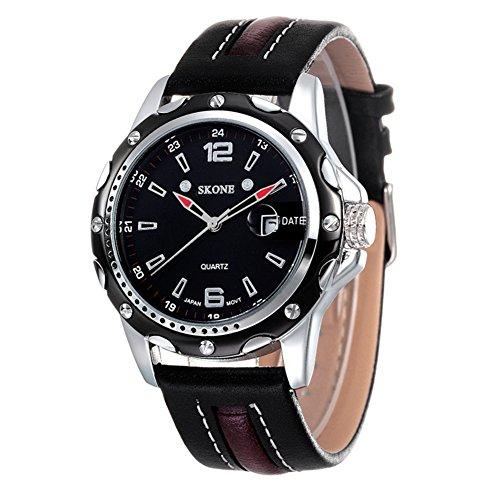 Stylish Woman Man Quartz Analog Wrist Watch Strip Dial Blue Band - 9
