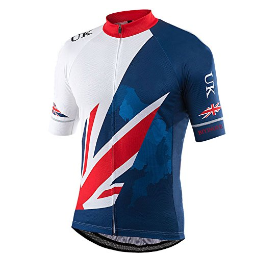 BIYINGEE Men's Cycling Jersey Short Sleeve UK Style Size L