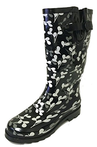 G4U Women's Rain Boots Multiple Styles Color Mid Calf Wellies Buckle Fashion Rubber Knee High Snow Shoes (7 B(M) US, Black/Red Polka Dots)
